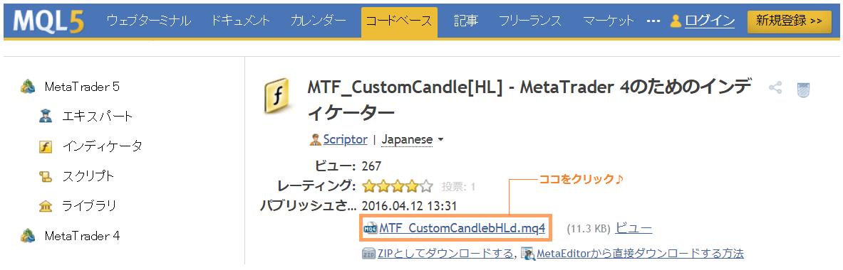 MT4カスタムインジケータのダウンロード